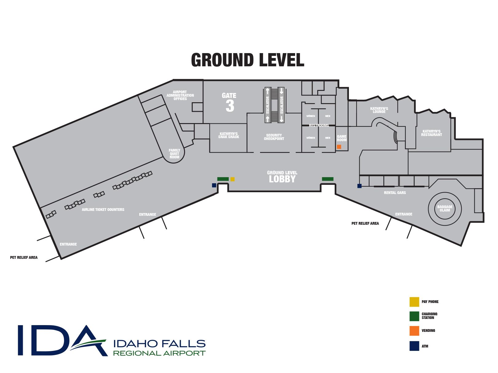 A map of the ground level terminal at Idaho Falls Regional Airport.