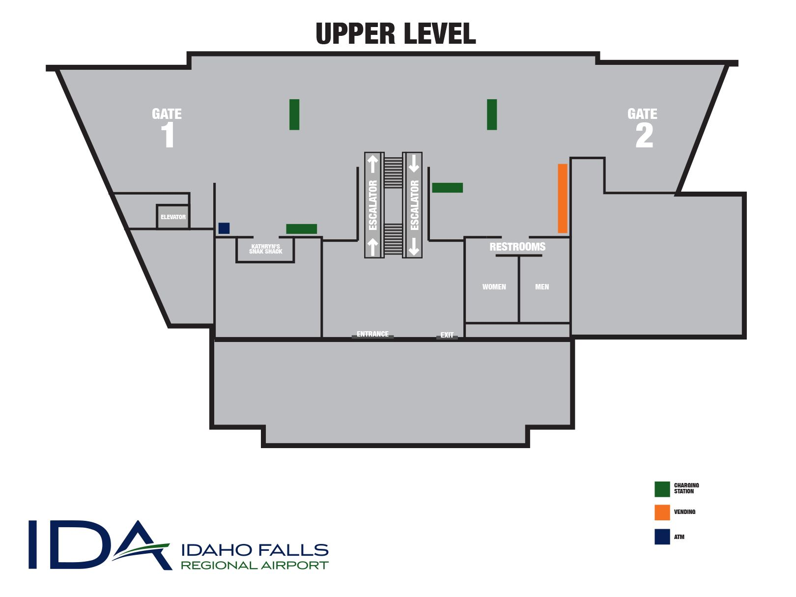 A map of the upper level terminal at Idaho Falls Regional Airport.